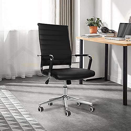 eclife Ergonomic Ribbed Leather office chair with Tiltable back support, Height adjustment Seat and Comfortable Armrest,360°rotation Chrome Caster wheel with Rubber coating computer chair…