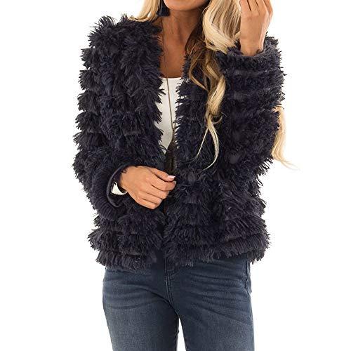 Lulupi Cappotto Sciolto Invernale Solido da Donna Giacca Elegante Maniche Lungo Colore Cappotto Donna Invernale Parka Pelliccia Sintetica