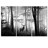 Welmeco 3 Pieces Animals Wall Decor Black and White Deer in Autumn Forest Canvas Prints Artwork for Home Office Nature Scenery Living Room Bedroom Decoration (L-48'XH-32')