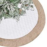 Lalent Christmas Tree Skirt - 48 inches Large White Quilted Luxury Tree Skirt, Tree Holiday Decorations for Christmas Decorations Xmas Ornaments (White)