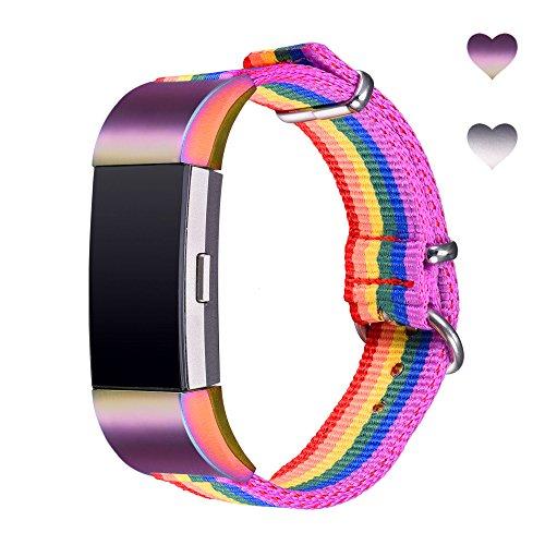 Bandmax Armband kompatibel für Fitbit Charge 2, LGBT Regenbogen Nylon Gewebe Gurt Ersatzarmband mit bunten Verbindungsstücke Gay Pride Uhrenarmband für Fitbit Charge 2(small Size)