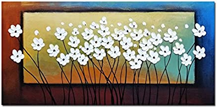 Wieco Art - White Flowers Oil Paintings on Canvas Wall Art for Living Room Bedroom Home Decorations Large Modern Stretched...