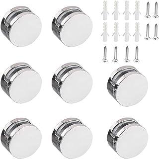 Mila-Amaz 8 Pezzi Supporto Vetro Clip per Specchi da Bagno Morsetto di Vetro Lega di Zinco per Vetro di Spessore 3-5MM