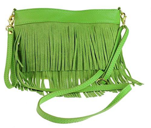 Girly Handbags Suede Shoulder Bag Tassel Light Green
