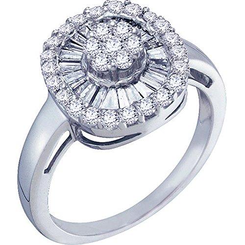 0,75Carat (quilate) 14K oro blanco redondo y Baguette Diamond–anillo de flor de Cluster Mano Derecha 3/4CT