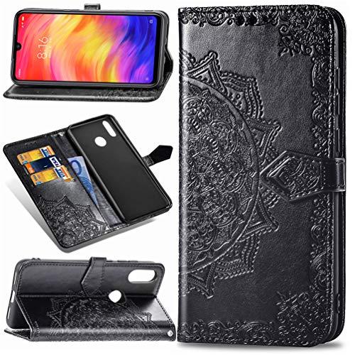MUSESHOP Funda Xiaomi Redmi Note 7/Note 7 Pro, Estuche de Cuero Estampado Mandala Libro de Cuero con Tapa y Cartera, Carcasa PU Leather con TPU Silicona Case Interna Suave - Negro