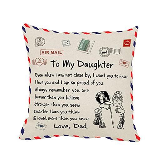 YepYes Almohada Decorativa Cubierta Mensaje Personalizado Carta Manta Plaza Decorativa Throw Pillow Covers Set Caso Cojín para Sofá del Dormitorio De Padre De Coches para La Hija