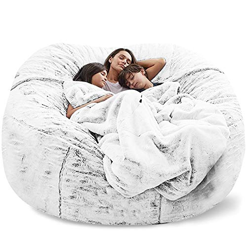Funda para sofá cama gigante sin relleno, suave, cálida, cómoda, mullida piel sentada (sin relleno) (color: blanco)