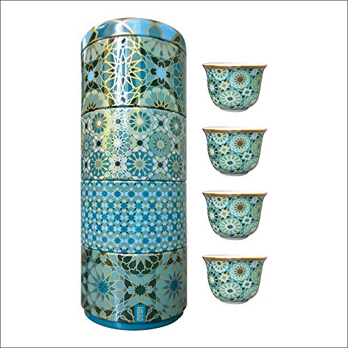 images d´ orient Tin Box with 4 Coffee Cups Blechdose mit 4 Porzellan Kaffeetassen Andalusia 60ml, Images d`Orient:Andalusia