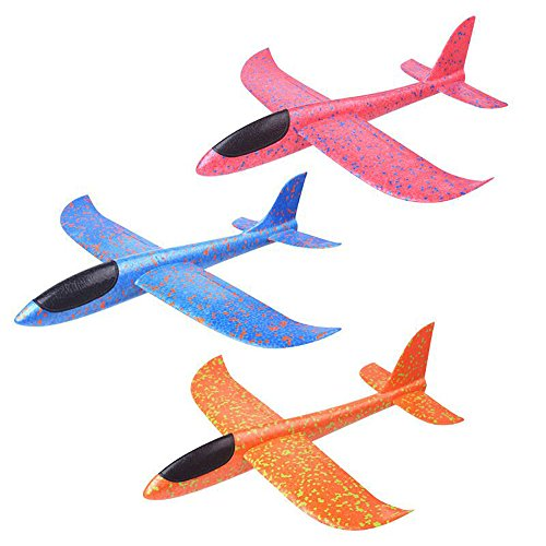 YAKEFJ Airplane Manual Throwing Foam Airplane Aircraft Glider Outdoor Sports Toy Model Foam Airplane Outdoor Sports Toy for Kids Pack of 3(13.8inch)