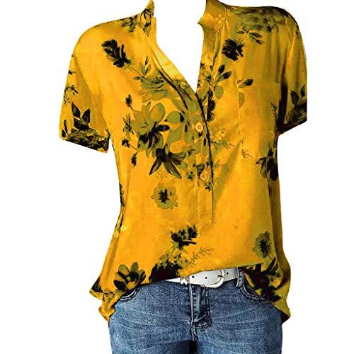 Dames blouse korte mouwen V-hals bloemen hemdblouse T-shirt oversized bedrukt T-shirt lange mouwen korte mouwen zomer elegante print tops, losse bovenstukken knoopsluiting oversize tuniek ZouYiL