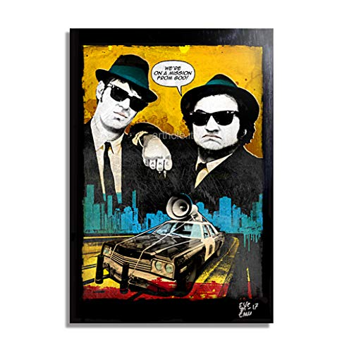 Jake und Elwood aus The Blues Brothers (1980) - Original Gerahmt Fine Art Malerei, Pop-Art, Poster, Leinwand, Artwork, Film Plakat, Leinwanddruck