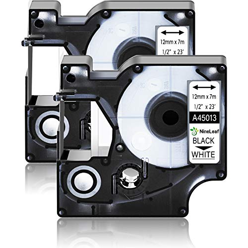 NineLeaf 2 Pack Black on White Label Refill Cartridge Compatible for DYMO D1 45013 45013S S0720530 45113 1/2'' 12mm x 23 Feet Label Tape Replacement for LabelManager 160 280 420P PnP 220P 360D 450 210D Label Maker