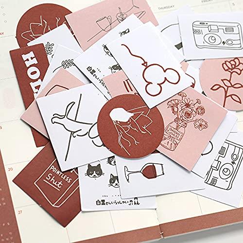 シール フレークシール 60枚セット 手帳ステッカー 手描き イラスト 韓国風 スケジュール 手帳ステッカー 手紙 カレンダー シンプル シンプルでかわいい (メイプルシロップ)