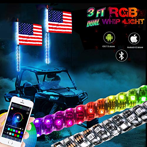 NBWDY 2Pcs 3FT LED Whip Light with Bluetooth Control -360°Spiraling Rising Dancing flag Offroad Warning Lighted LED Whips LED Antenna Light for UTV, ATV, Off Road, Truck, Jeep, Sand, Buggy Dune, RZ