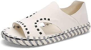 SHENLIJUAN Summer Beach Sandal for Men Sports Water Shoes Microfiber Leather Open Toe Handmade Stitching Closure