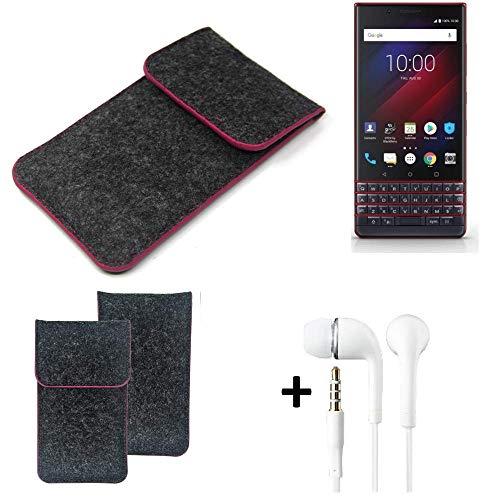K-S-Trade Filz Schutz Hülle Für BlackBerry Key 2 LE Dual-SIM Schutzhülle Filztasche Pouch Tasche Handyhülle Filzhülle Dunkelgrau Rosa Rand + Kopfhörer
