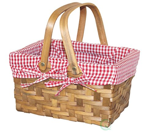 Rectangular Basket Lined with Gingham