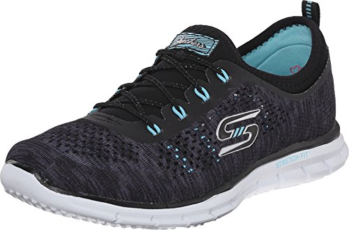 Skechers Sport Women's Glider Deep Space Fashion Sneaker,Black/Aqua,8.5 M US