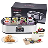 Yogurt Maker Automatic Digital Yoghurt Maker Machine with 8 Glass Greek Jars 48 Ozs (6Oz Each Jar) LCD Display with Constant Temperature Control Stainless Steel Design for Home Use