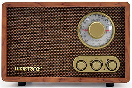 LoopTone AM FM Retro Radio with Bluetooth Speaker,Vintage Wood Table Radio for Kitchen Living Room with Rotary Knob