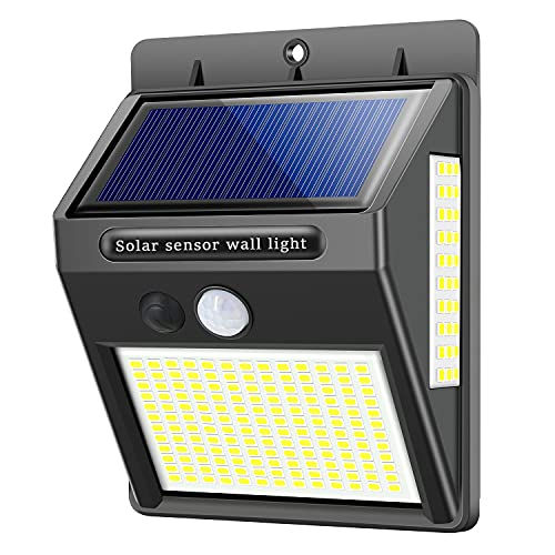 Upgraded Solar Light Outdoor 216 LED Motion Sensor Security Wall Lights Waterproof Security Lights 300° Super Bright for Outside,Front Door,Garage,Yard,Fence (1 Pack)