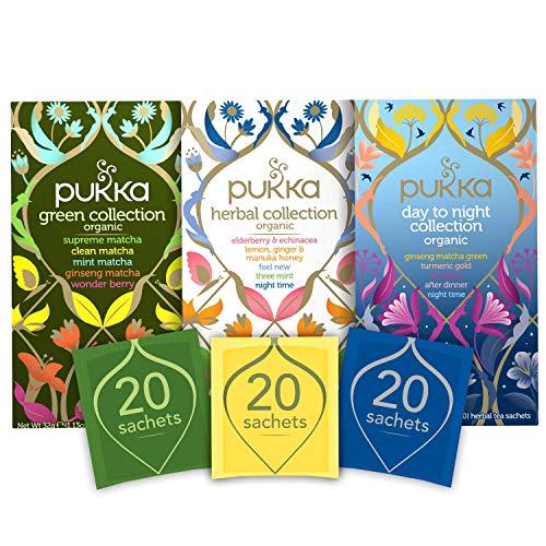 Pukka Herbs Organic Tea Bundle Green Collection, Day to Night Collection and Herbal Collection, Various, 60 Count