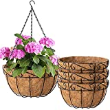 Amagabeli 4 Pack Metal Hanging Planter Baskets 10 Inch for plants Outdoor With Coco Coir Liner Round...