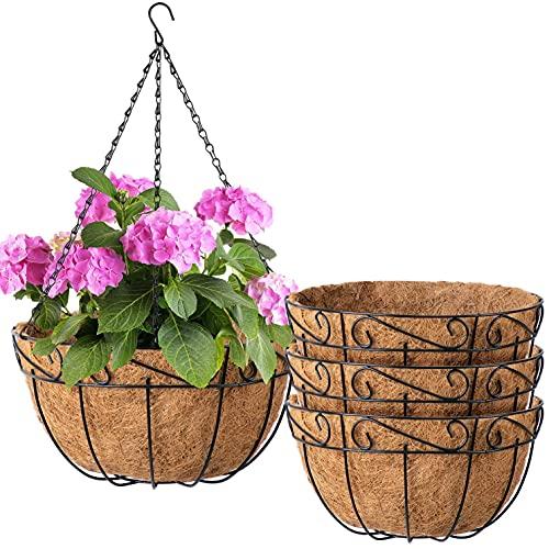 Amagabeli 4 Pack Metal Hanging Planter Baskets 10 Inch for plants Outdoor...