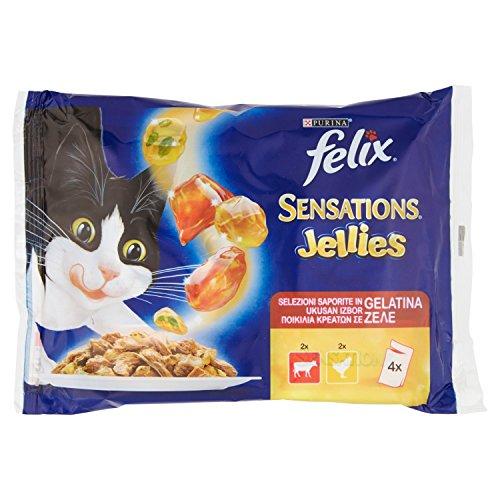 Felix - Sensations, diseño de Buey de Tomate y de Pollo, diseño de Zanahorias, Comida de Gato-4 x 100 g