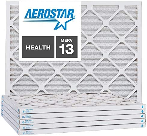 Aerostar 10x24x1 MERV 13 Pleated Air Filter 10x24x1 Box of 6 Made in The USA product image