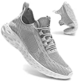 Men's Slip on Walking Shoes Tennis Running Sneakers Lightweight Breathable Casual Soft Sole Comfort Work Trainers Grey
