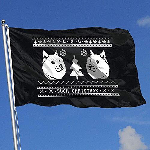 Niet van toepassing Seizoensgebonden Tuinvlaggen, 2017 Lelijke Kerst Trui Patroon Shiba Inu Eye-Catching Thuis Vlag Banners Voor Tuinwerf 150x90cm