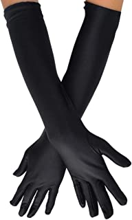 Wobe Long Opera Party 20s Satin Gloves Stretchy Adult Size Elbow Length 1920s Opera Satin Long Gloves Classic Sun Protection Gloves Wedding Bride Etiquette Gloves for Women Girls Black