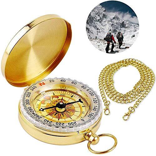 BETOY Messing Kompass, Taschenkompass Wasserdichter Messingkompass Marschkompass Klassischer Sprungdeckel Compass mit Leuchtziffern für Camping Marsch Outdoor