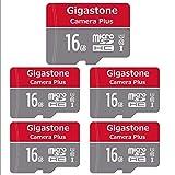 Gigastone Micro SD Card 16GB マイクロSDカード フルHD 5個セット SDアダプタ付 ミニ収納ケース付 SDHC U1 C10 85MB/S 高速 メモリーカード UHS-I Full HD 動画