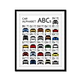 ABC Car Nursery Poster Alphabet Chart for Toddlers Babies and Kids 26 Vehicles, Covering A to Z