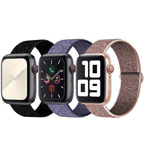 SSEIHI Kompatibel mit Apple Watch Armband 38mm 40mm,Soft Sport Loop Leichter Atmungsaktiver Nylon Armband Für die iWatch Serie 5/4/3/2/1, Sport+, Edition,Pink/Dark/Blue