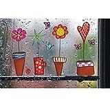 Zerama Decalcomania della finestra della farfalla del fiore adesivi decorazione della parete di vetro