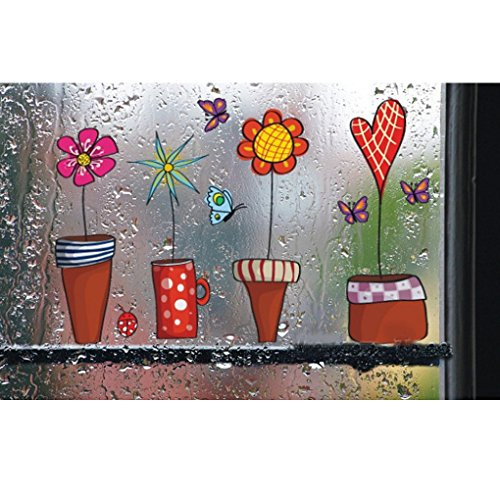 Zerama Flower Butterfly Sticker/Window Glass Wall deko frühling Decor Wall Sticker Set Fairy Garden for Childreneds fensterbilder Wall Tattoo Living Room Flower