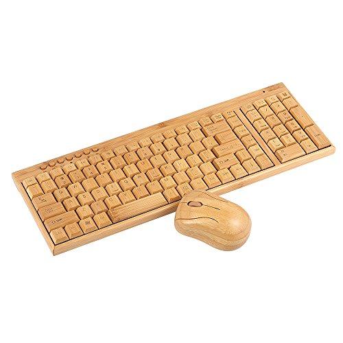 Festnight 2.4G Wireless Bamboo PC Tastatur und Maus Combo Computer Tastatur Handcrafted natürlichen Holz Plug and Play gelb