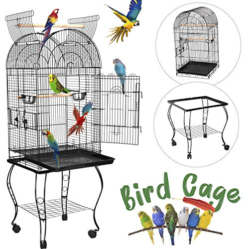 SUPER DEAL 53''/59.3''/63.5'' Rolling Bird Cage Large Wrought Iron Cage for Cockatiel Sun Conure...