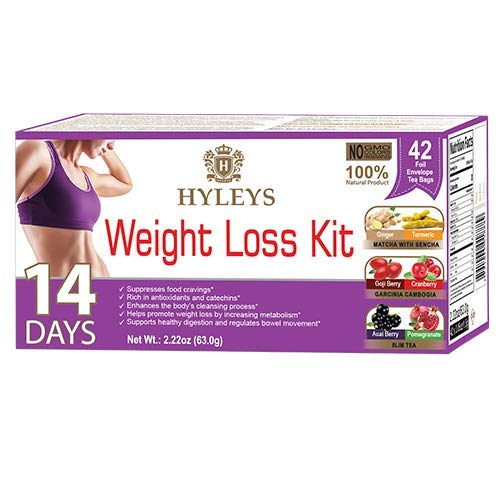Hyleys 14 Day Weight Loss Tea Kit 100% Natural 42 Foil Envelope Tea Bags (Weight Loss Kit 14 Days)