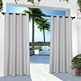 Exclusive Home Curtains Indoor/Outdoor Solid Cabana Grommet Top Curtain Panel Pair, 54x96, Cloud Grey, 2 Piece