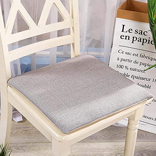 Silla Cojín para silla de espuma viscoelástica, con patrón de nido de abeja de encaje Asiento de silla de comedor cuadrado con respaldo de goma antideslizante, con funda de material de lino-Marrón 50x