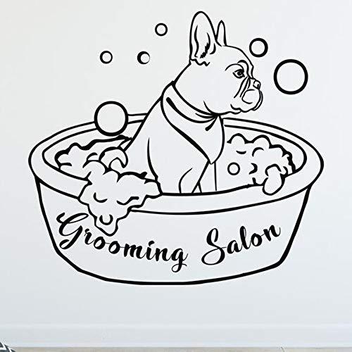 WERWN Salón de Belleza Tatuajes de Pared Perro baño Animal Mural Arte Vinilo Pegatinas de Pared baño para Mascotas decoración de Interiores calcomanías