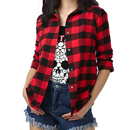 Fesky - Camisas - para Mujer Rojo Rojo Y Negro Medium