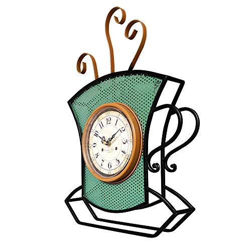 Qiming Wall-Mounted Clock Al Estilo Europeo Retro Reloj de Escritorio Reloj colocado Forjado Mesa de Hierro Reloj Reloj Sentado Silencio Home Decoration (Color : Green, Size : 48x8x36cm)