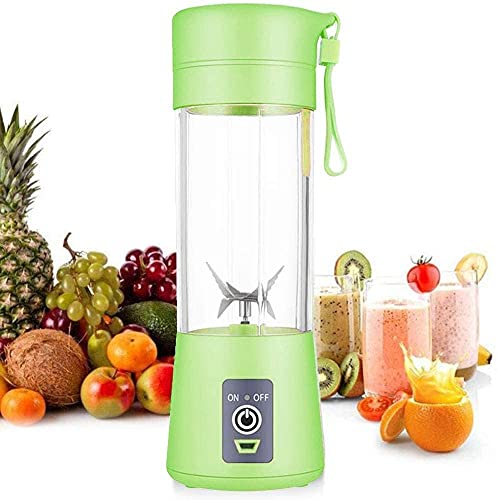OURPATH Mini Portable Blender Personal Blender Small Fruit Mixer Electric USB Rechargeable Juicer Cup Fruit Mixing Machine Home Travel 380ml,Six Blades 3D (GREEN)