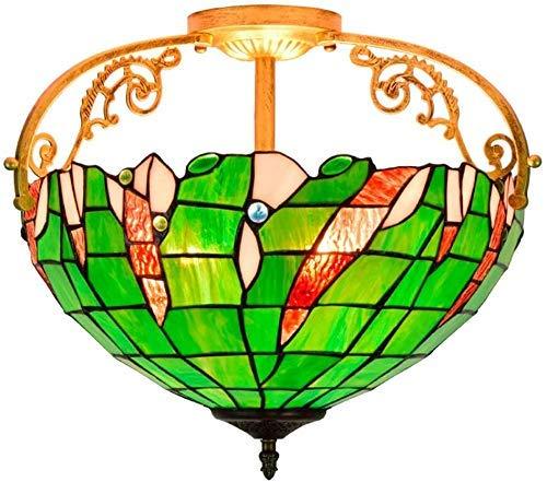 Wtbew-u Lámpara de Techo, luz de baño Monte Enjuague 16 Pulgadas Americana Pastoral Manchado Sombra Colgante Columna de iluminación para Comedor Dormitorio